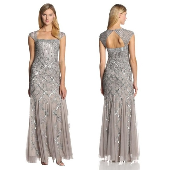Adrianna Papell Dresses | Cap Sleeve Beaded Gown In Platinum | Poshmark